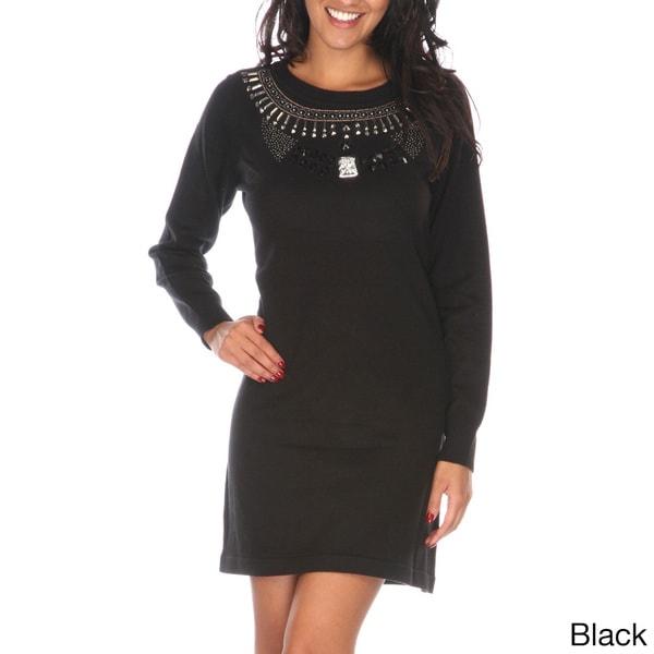e2cdbf176f8 Shop White Mark Women s Jewel Embellished Sweater Dress - On Sale ...
