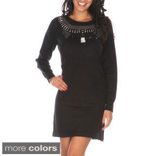 White Mark Women's Jewel Embellished Sweater Dress