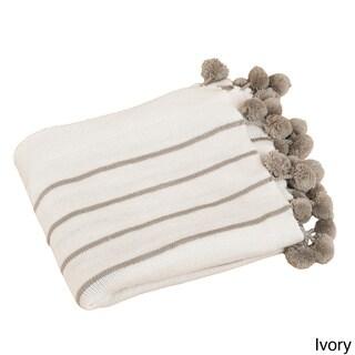 Pom-Pom Striped Woven Soft and Cozy 50 x 60-inch Throw Blanket