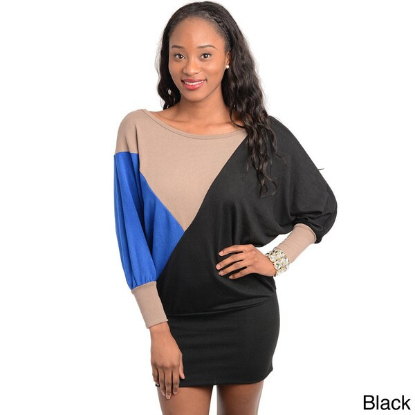 Stanzino Women's Colorblocked Bat-sleeve Mini Dress