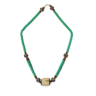 Handcrafted Bone 'Green Laafi' Terracotta Beaded Necklace (Ghana)