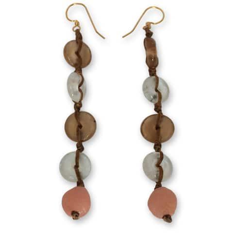 Handmade Recycled Glass Peachy Pretty Earrings (Ghana)