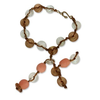 Handcrafted Recycled Glass 'Peachy Pretty' Bracelet (Ghana)