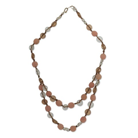 Handmade Recycled Glass 'Peachy Pretty' Necklace (Ghana)