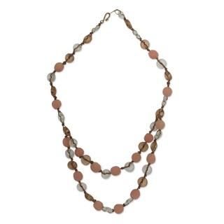 Handmade Recycled Glass 'Peachy Pretty' Necklace (Ghana)