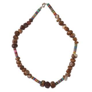 Handmade Agate 'Agyinkwa' Beaded Necklace (Ghana)