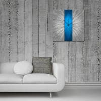 Blue Stripe Modern Metal Wall Clock