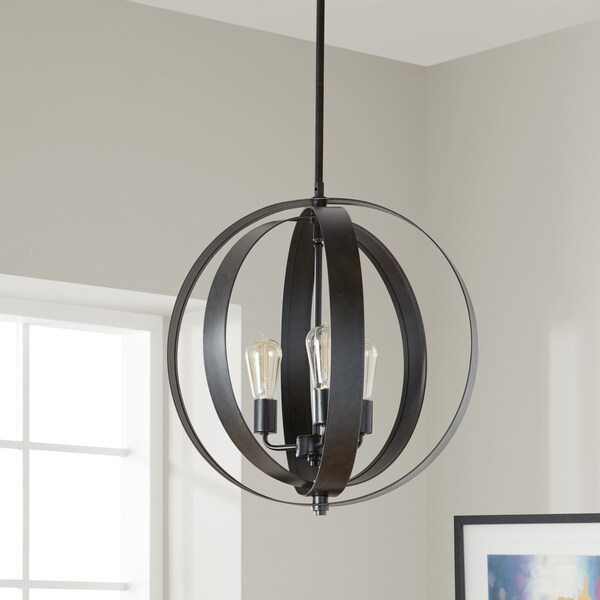Clay Alder Home Cassidy Antiqued Black 3-light Orb Chandelier & Shop Clay Alder Home Cassidy Antiqued Black 3-light Orb Chandelier ...