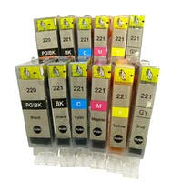 Canon PGI-220 CLI-221 Compatible Ink Cartridges for Canon PIXMA iP3600 iP4600 iP4700 (Pack of 12)
