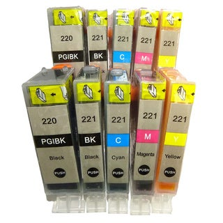 Canon PGI-220 CLI-221 Compatible Ink Cartridge PIXMA iP3600 iP4600 iP4700 MP540 MP550 MP560 MP620 MP630 MP640 MP980 (Pack 10)