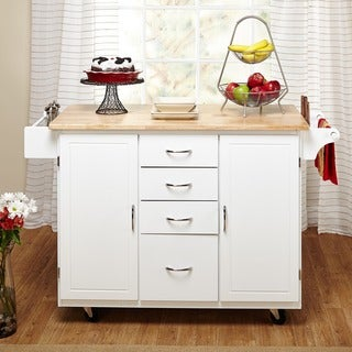 Simple Living White Natural Country Cottage Kitchen Cart