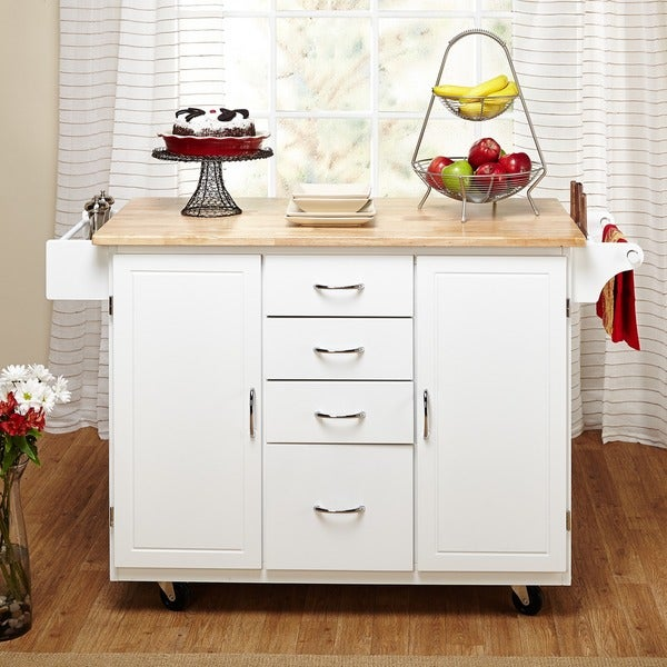 Simple Living White Natural Country Cottage Kitchen Cart Free