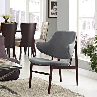 Cherish Wood and Dark Grey Upholstery Lounge Chair