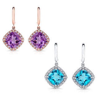 14k Gold 1/5ct TDW White Diamond and Gemstone Earrings (J-K, I1-I2)
