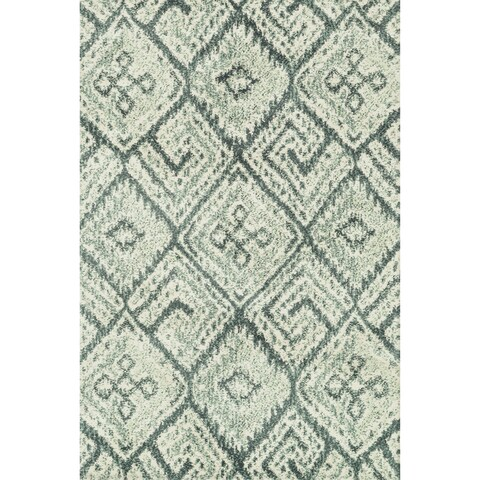 "Microfiber Woven Teal/ Ivory Transitional Rug - 9'3"" x 13'"