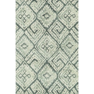 """Microfiber Woven Teal/ Ivory Transitional Rug - 9'3"""" x 13'"""