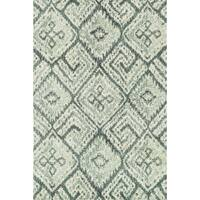 Microfiber Woven Teal/ Ivory Transitional Rug - 9'3 x 13'