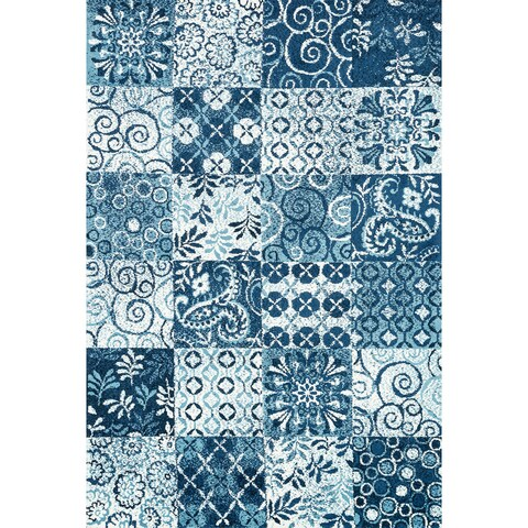 """Microfiber Woven Blue Transitional Rug - 9'3"""" x 13'"""