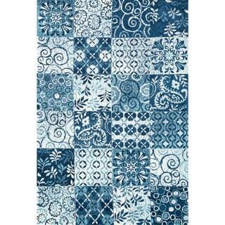 Microfiber Woven Beckett Blue Rug (9'3 x 13')