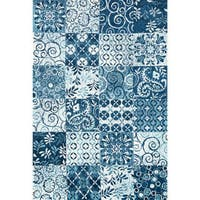 Microfiber Woven Blue Transitional Rug - 9'3 x 13'
