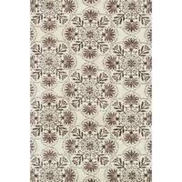 Microfiber Woven Beckett Brown/ Grey Area Rug - 3'6 x 5'6