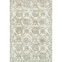 Microfiber Woven Beige Transitional Rug - 7'6 x 9'6