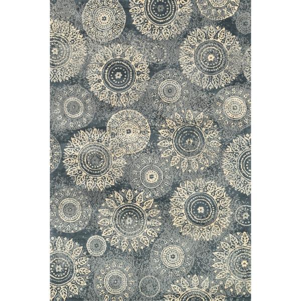 Microfiber Woven Beckett Charcoal/ Beige Area Rug - 5'0 x 7'6