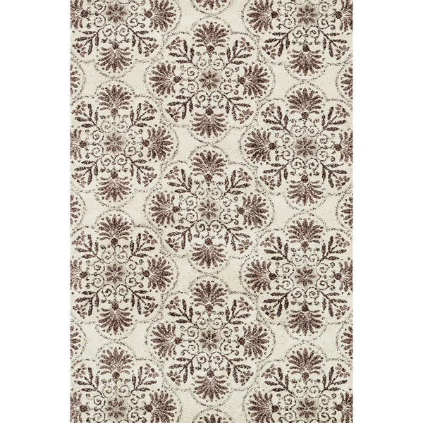 Microfiber Woven Beckett Brown/ Grey Area Rug - 5' x 7'6