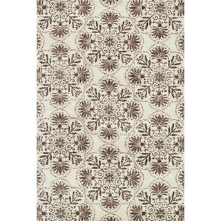 Microfiber Woven Beckett Brown/ Grey Area Rug (5'0 x 7'6)