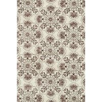 Microfiber Woven Beckett Brown/ Grey Area Rug - 5' x 7'6