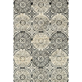 Microfiber Woven Beckett Black/ Gold Area Rug (9'3 x 13)
