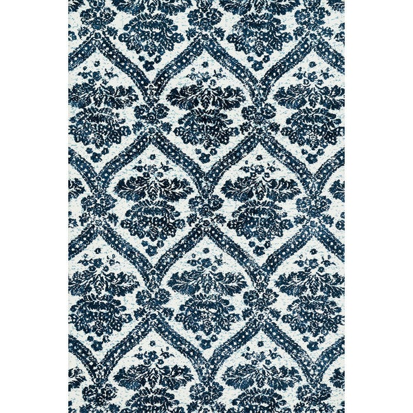 Microfiber Woven Navy Transitional Rug - 9'3 x 13'