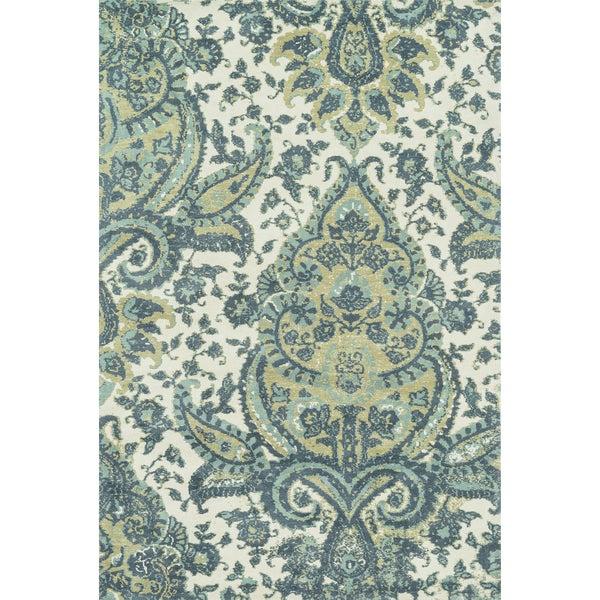 "Microfiber Woven Teal/ Multi Transitional Rug - 9'3"" x 13'"