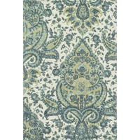 Microfiber Woven Teal/ Multi Transitional Rug - 9'3 x 13'