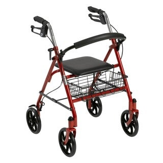 Drive Medical Four Wheel Rollator Rolling Walker with Fold Up Removable Back Support (Red)
