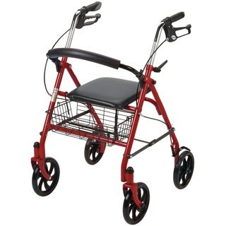 Drive Medical Four Wheel Rollator Rolling Walker with Fold Up Removable Back Support