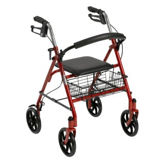 Drive Medical Four Wheel Rollator Rolling Walker with Fold Up Removable Back Support (2 options available)