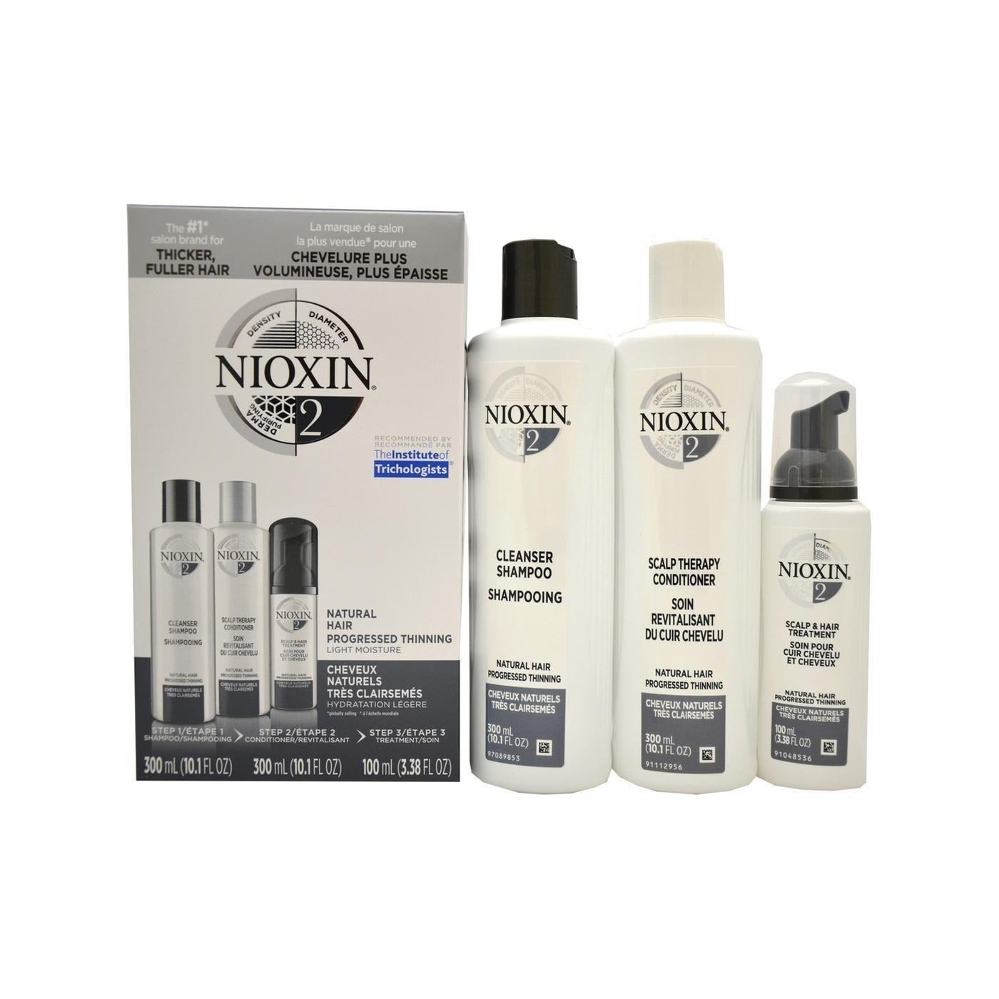 Nioxin System 2 3-piece Kit for Fine Noticeably Thinning ...