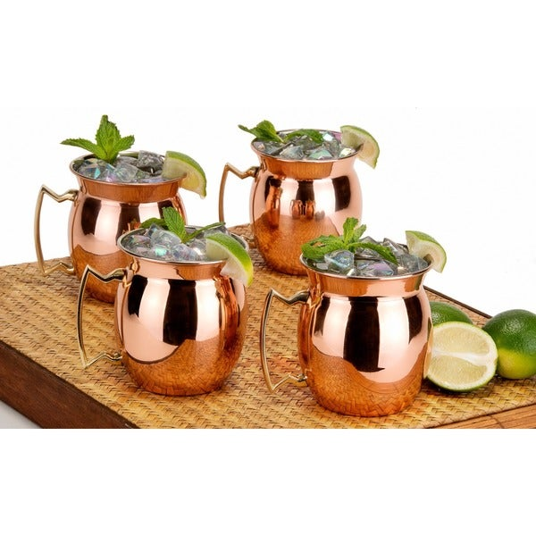 Old Dutch Solid Copper16 oz. Nickel Lined Flared-rim Moscow Mule Mugs (Set of 4)