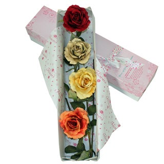 Special Occasion Mixed Silk Rose Flower Bouquet and Gift Box