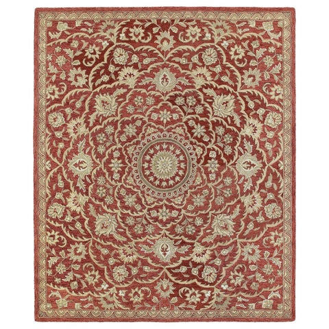 Hand-tufted Joaquin Red Medallion Wool Rug - 2' x 3'