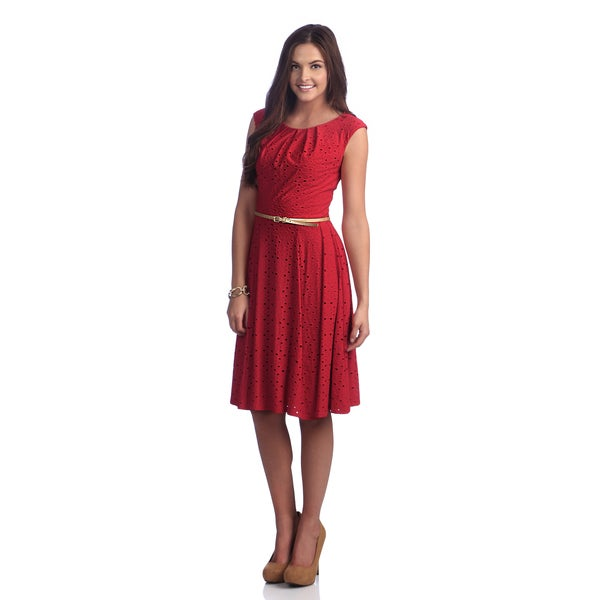 London Times Women's Red Belted Fit and Flaire Dress