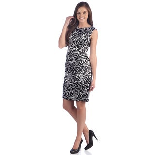 London Times Women's Printed Stretch Satin Sheath Dress