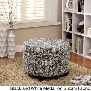 HomePop Large Ivory Leather Round Storage OttomanFree Shipping