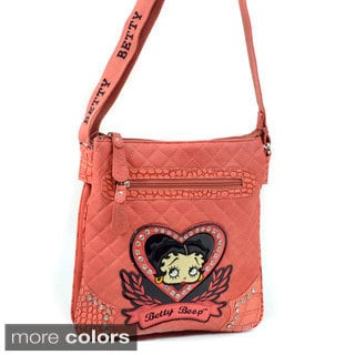 Betty Boop Rhinestone Heart Quilted Messenger Bag
