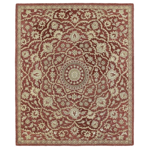 Hand-tufted Joaquin Red Medallion Wool Rug (5' x 7'9) - 5' x 7'9""