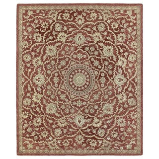 Hand-tufted Joaquin Red Medallion Wool Rug (9' x 12') - 9' x 12'
