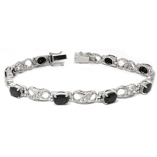 De Buman 925 Silver 17.48ctw Natural Sapphire and White Topaz Bracelet
