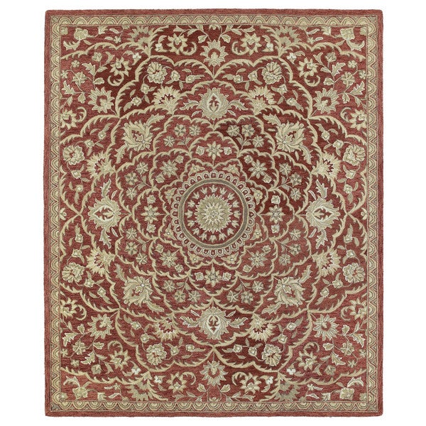 Safavieh Pl537a Persian Legend Wool Hand Tufted Rust Navy: Hand-tufted Joaquin Red Medallion Wool Rug (8' X 10