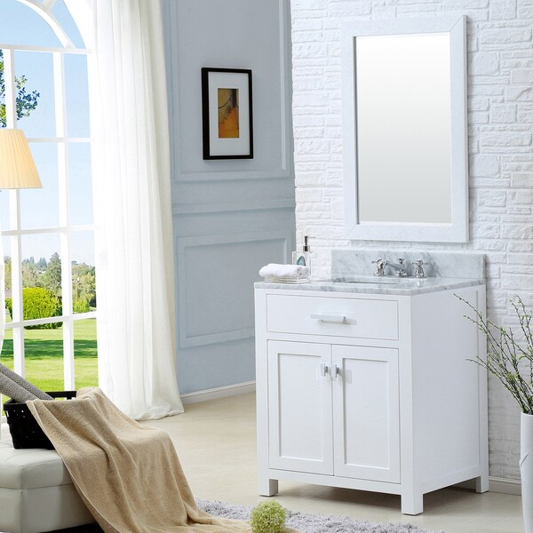 Shop Water Creation Madison 30-inch Solid White Single Sink Bathroom ...